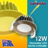 20 LUMMAX 12W Dimmable LED Downlight Kit 90mm Cutout (Satin Chrome)